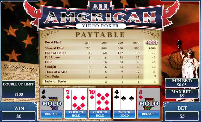 all american video poker screenshot
