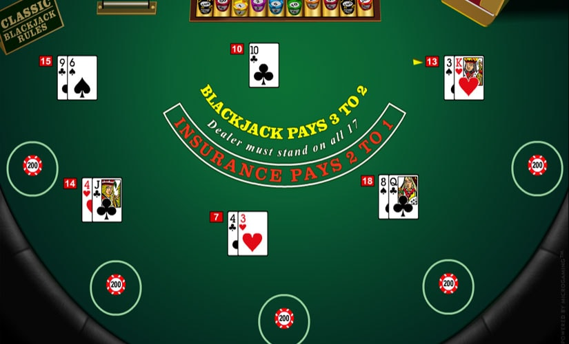 multihand blackjack screenshot